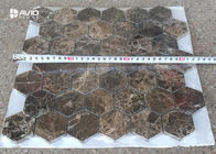 Seamless Dark Emperador Marble Mosaic Wall Tile For Decoration 42 Pcs Sheet