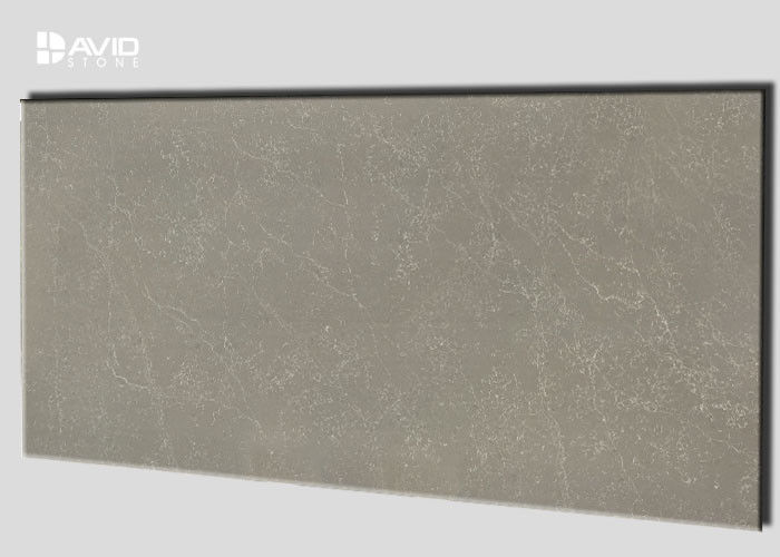 Durability Gray Quartz Slab With White Veins For Making Kitchen Vanity Tops