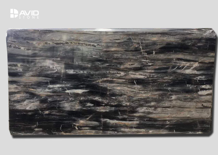 Brown Marble Natural Stone Slabs For Kitchen Countertops / Bathroom Vanity Top