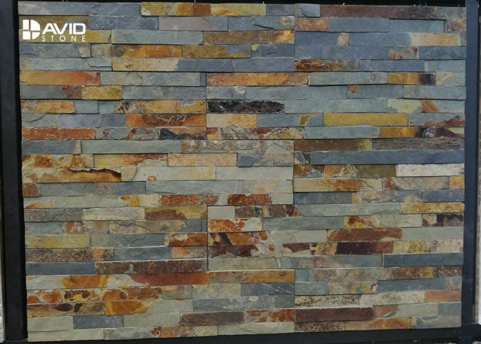 Shinny Rusty Natural Slate Cultured Stone Durable Low Water Absorption