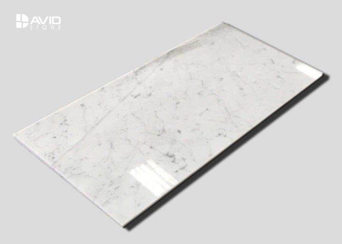 Crashproof  White Carrara Marble Stone Tile For Bathroom / Kitchen Decoration