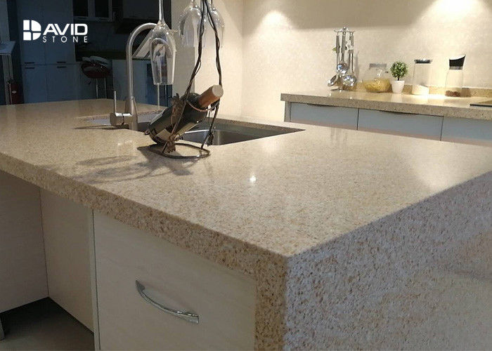 Beige Glossy Polished Quartz Stone Countertops , Solid Surface Quartz Kitchen Top